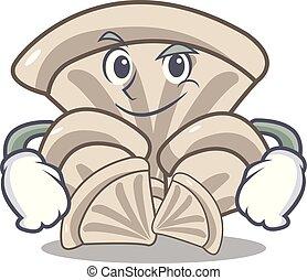 Smirking oyster mushroom character cartoon