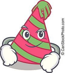 Smirking party hat character cartoon vector illustration