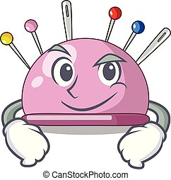 Smirking pincushion with a character needles icon vector...