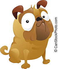 Funny smirking pug dog cartoon