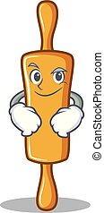 Smirking rolling pin character cartoon
