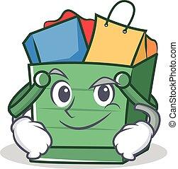 Smirking shopping basket character cartoon