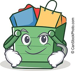 Smirking shopping basket character cartoon