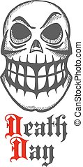 Smirking skull with raised eyebrow and large teeth