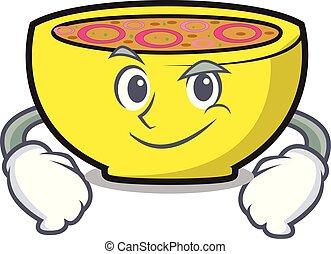 Smirking soup union character cartoon