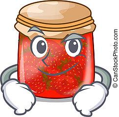 Smirking strawberry marmalade in glass jar of cartoon