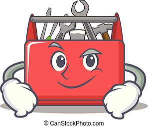 Smirking tool box character cartoon