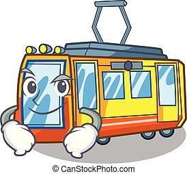 smirking, treno elettrico, isolato, con, il, cartone animato