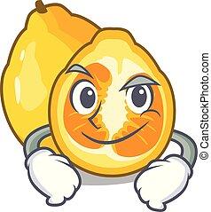 Smirking ugli in the mascot fruit basket illustration vector
