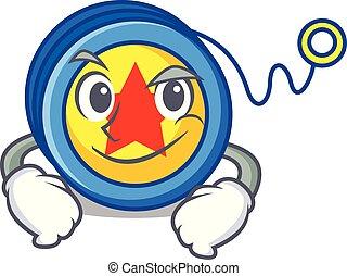 Smirking yoyo character cartoon style vector illustration