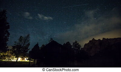 Smith Rocks MilkyWay Stars 555 - Time lapse from day to...