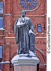 Smithson Statue After the Snow Smithsonian Castle Washington...