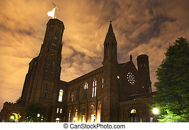 Smithsonian Castle Front Night Washington DC
