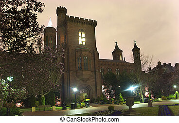 Smithsonian Castle Garden Night Washington DC - Smithsonian...