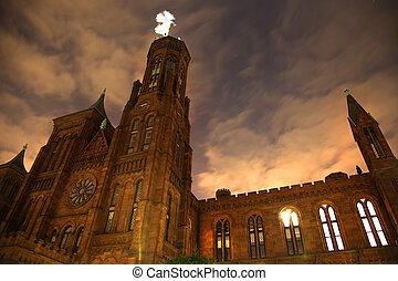Smithsonian Castle Night Front With Stars Washington DC -...