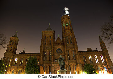 Smithsonian Castle Night Smithson Statue Stars Washington DC...