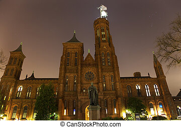 Smithsonian Castle Statue Night With Stars Washington DC -...