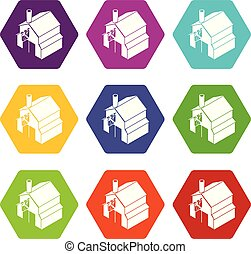 Smithy icons set 9 vector - Smithy icons 9 set coloful...