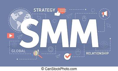 smm, concept., business, publicité, dans, les, internet.