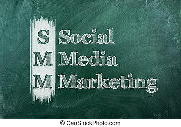 SMM Social Media Marketing with white chalk on blackboard.