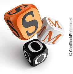 smo, orange, blocs, dés, noir