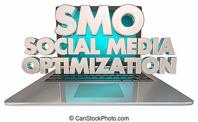 SMO Social Media Optimization Laptop Computer3d Illustration