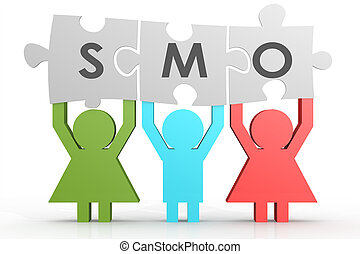 SMO - Social Media Optimization puzzle in a line