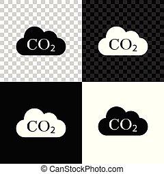 smog, émissions, products., environnement, blanc, carbone, icône, combustion, symbole, vecteur, isolé, concept, illustration, transparent, co2, pollution, noir, arrière-plan., formule, bioxyde, nuage