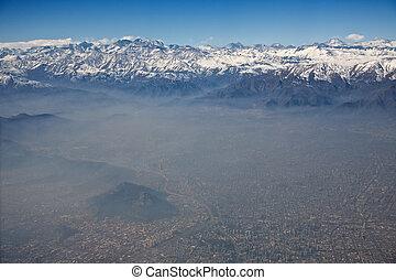 smog, andes, chili, vue, aérien, santiago