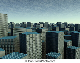 Smog City - Symbolic render of an generic, polluted large...