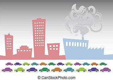 Smog City - Vector illustration of smog City