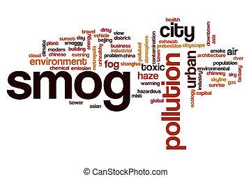 smog, concept, mot, nuage