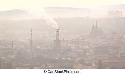 Smog in Brno, dust in the air, calamity serious situation