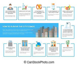 Smog infographic vector illustration. How to survive in...