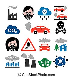 Smog, pollution, anti pollsution mask vector icons set - ecology, environment concept