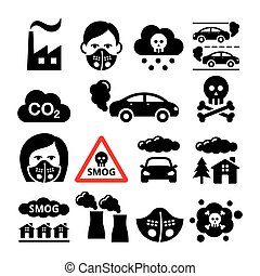 Smog, pollution icons set - ecology, environment concept -...