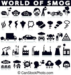 Smog, pollution icons set