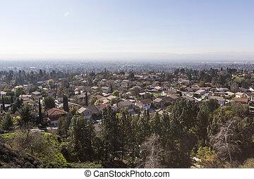 Smog Suburb in Los Angeles California