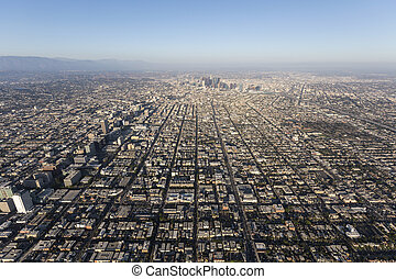 Smoggy Afternoon Aerial in Los Angeles California