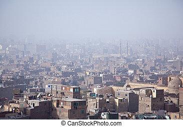 smoggy, cairo, sobre, vista, favelas