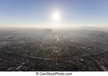 Smoggy Los Angeles Summer Afternoon Aerial