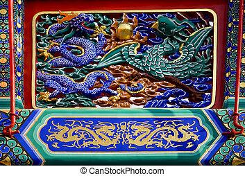 smok, feniks, szczegóły, brama, yonghegong, beijing, porcelana