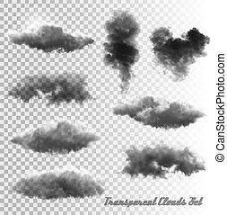 smoke., 透明, 雲, セット, vector.
