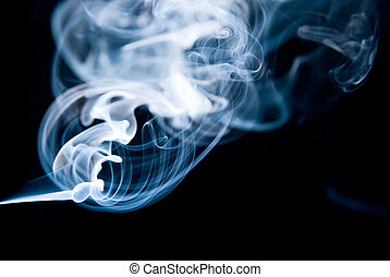 Smoke action in black background
