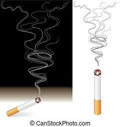 Smoke And Cigarette - Vector illustration of Smoke and...