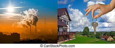 smoke and clean air - the juxtaposition of the city with the...
