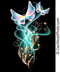Smoke and transparent butterflies - Golden ornament with ...