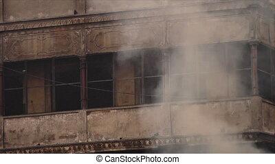 Smoke at Markarnika Ghat, Varanasi, India - Close-up...