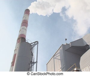 smoke boiler chimney - White fume smoke from huge boiler...