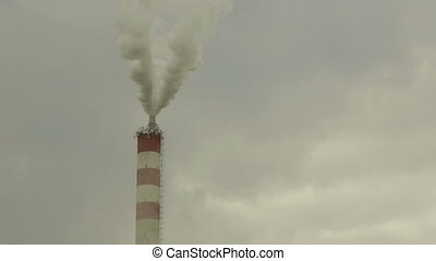 Smoke chemical factory, town Prerov, Central Moravia, Czech...